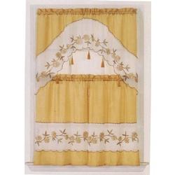 Exceptional Kitchen Curtain   Gold U0026 White With Tassels