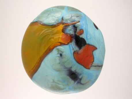turquoise-orange shard hollow disc-2437
