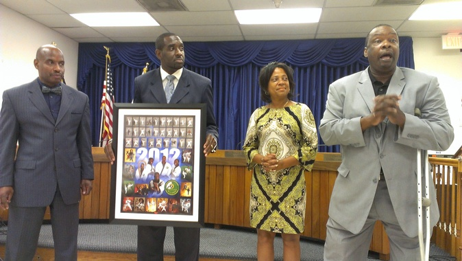 Dr. Thomas Presents 2012 Rambler Poster to Bladensburg Town Council (September 9, 2013)