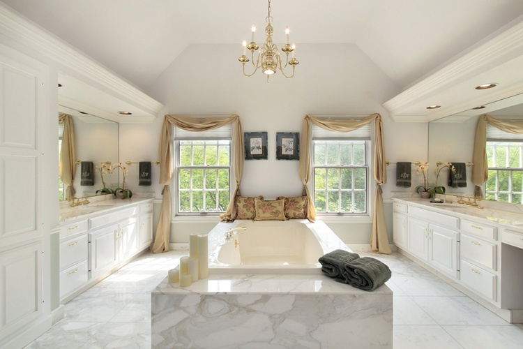 White Bathroom Tiles by Old Castle Home Design Center