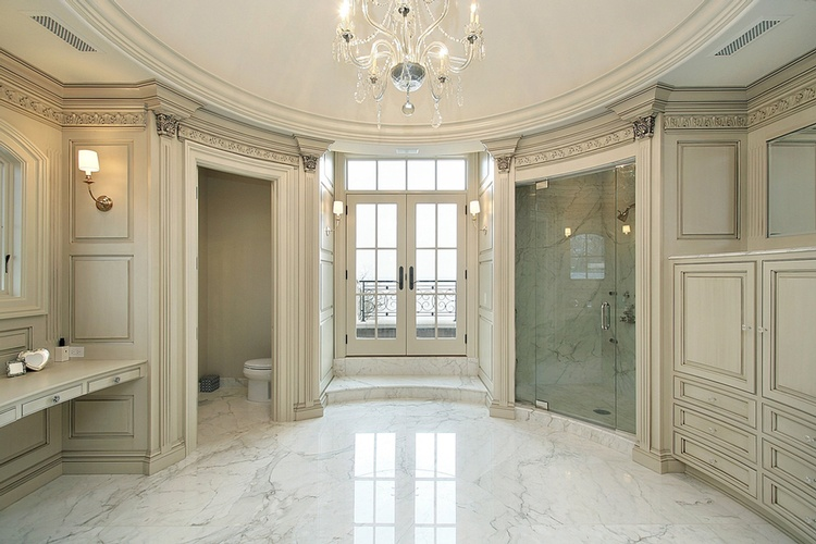 Bathroom Marble Flooring by Old Castle Home Design Center