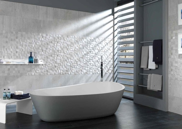 White Porcelain Textured Wall Tiles for Bathroom by Old Castle Home Design Center