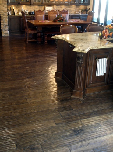Dark Wood Kitchen Floors in Atlanta by Old Castle Home Design Center