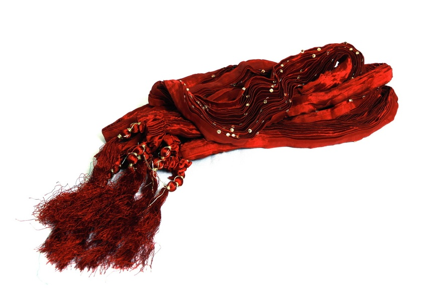 Maroon Diamond Pleating Khesh Stole