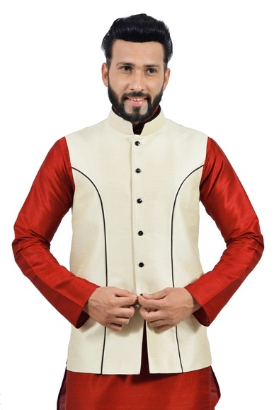 Cream  Nehru Jacket   RK4135