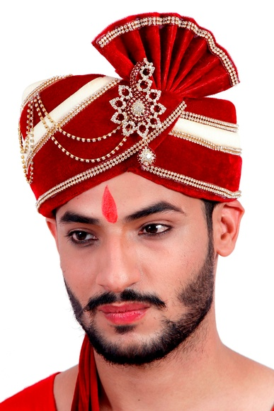 Maroon Cream Wedding Safa Turban