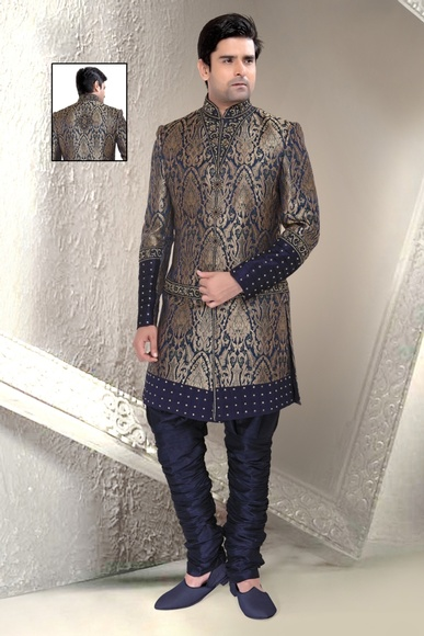 Blue Color Festive And Navratri Indo Western Sherwani