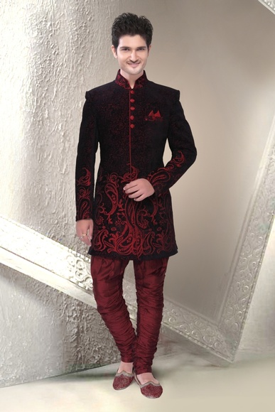 Stimulating Black Color Indo Western Sherwani