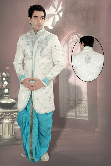 Engrossing White Color Indo Western Sherwani