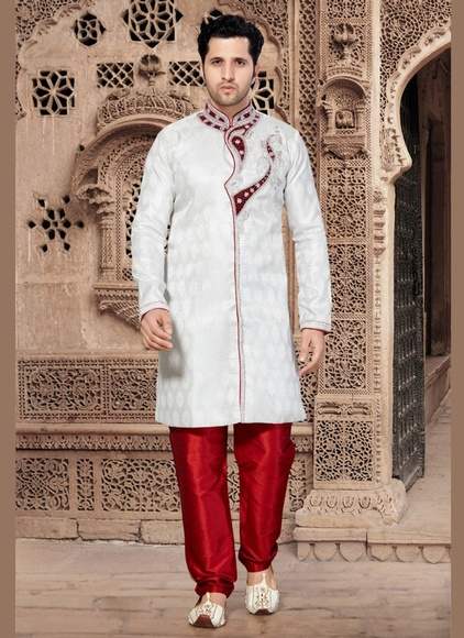 Charming Price White Color Indo Western Sherwani