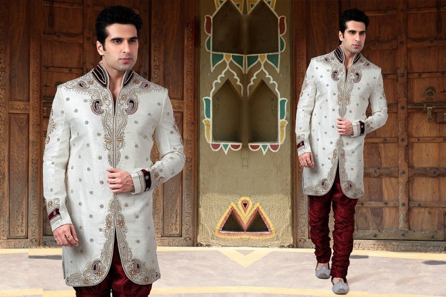 Eloquent White Color Indo Western Sherwani