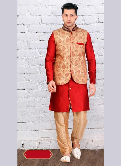 Trendy Look Red Color Indo Western Sherwani