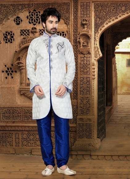 Prince Look White Color Indo Western Sherwani