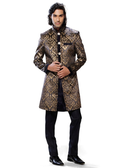 Yellow & Blue Color Fancy Indo Western Sherwani