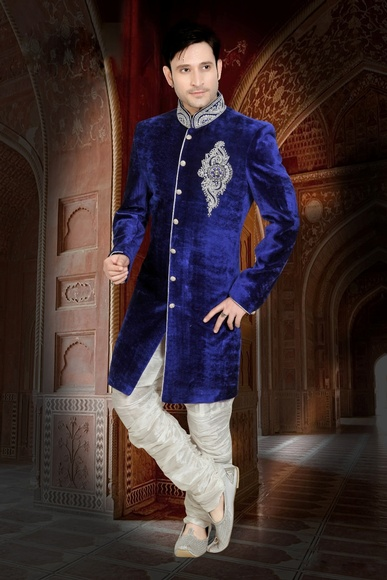 Blue Color Fabulous Indo Western Sherwani