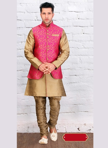 Attractive Look Brown Color Dupioni Raw Silk Indo Western Sherwani