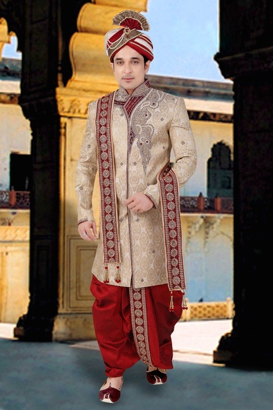 Classical And Ethnic Beige Indo Western Sherwani