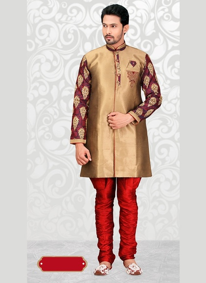 Unique Collection Beige Color Indo Western Sherwani