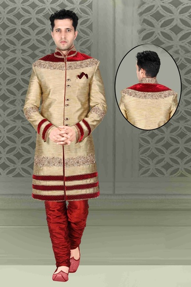 Beige Color Trendy Look Indo Western Sherwani