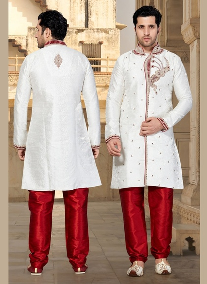 Sophisticated White Color Jacquard Indo Western Sherwani