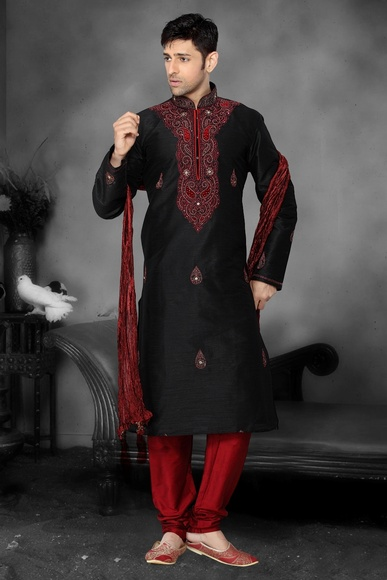 Black Maroon Color Kurta Payjama