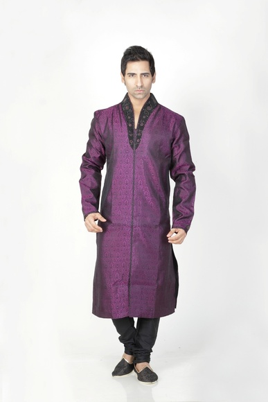 Black  & Violet Color Kurta Payjama