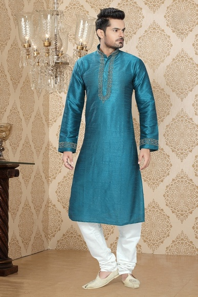Blue Color Rayally Kurta Payjama