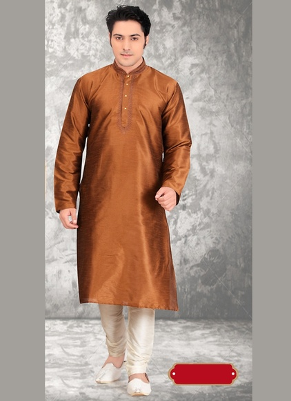 Tantalizing Brown Wedding Kurta Payjama