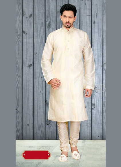 Appealing Cream Color Designer Kurta Payjama