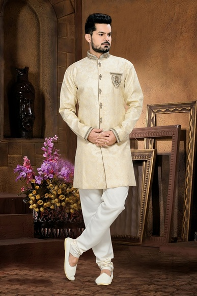 Delicate Designer Collection Mens Cream Color Royal Sherwani