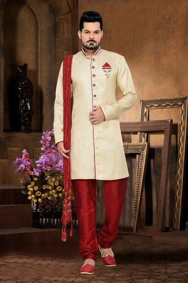 Trendy Traditionally Mens Cream Color Royal Sherwani