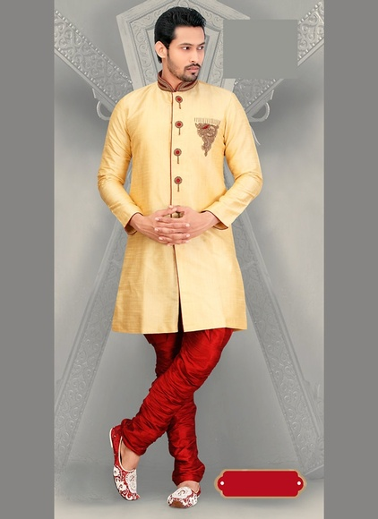 Traditional Ethnic Look Mens Cream Color Royal Sherwani