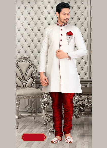 Dazzing Stylewhite Royal Sherwani For Men Wedding