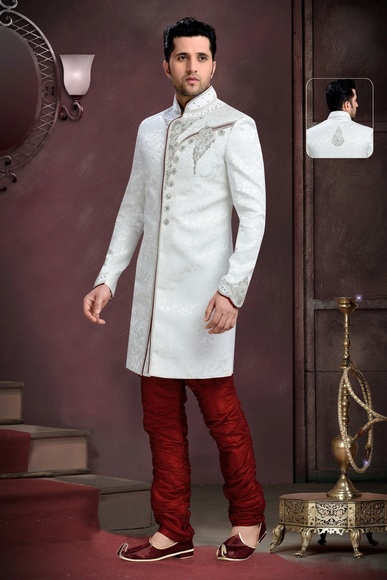 Elegant White Color Royal Sherwani For Wedding And Special Occasion