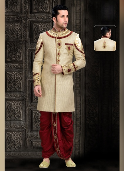 Voguish Lightbrown Ethnic Look Royal Sherwani For Wedding