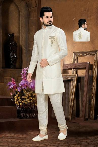 Extravagant White Color Royal Sherwani For Navratri