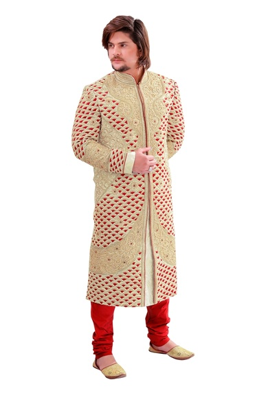 Complete Ethnic Look Enamouring Beige Color Royal Sherwani