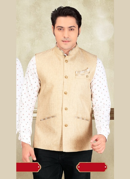 Smashing Your Look Beige Color Imported Nehru Jacket