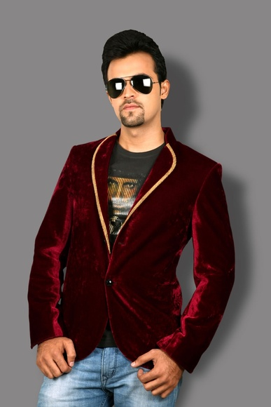 Dashing Burgundy Velvet Blazer BL5024