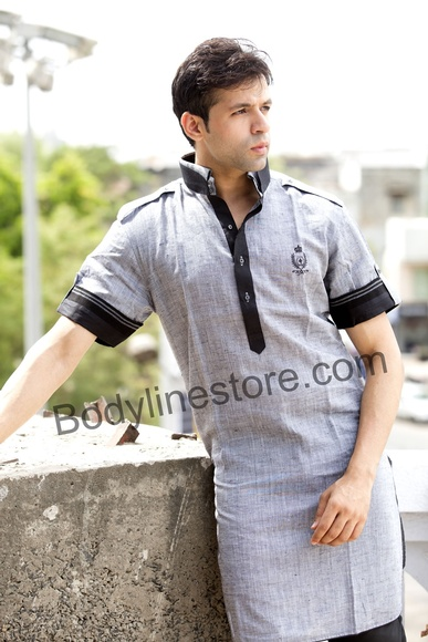 Grey Pathani Suit With Jacket BL4037