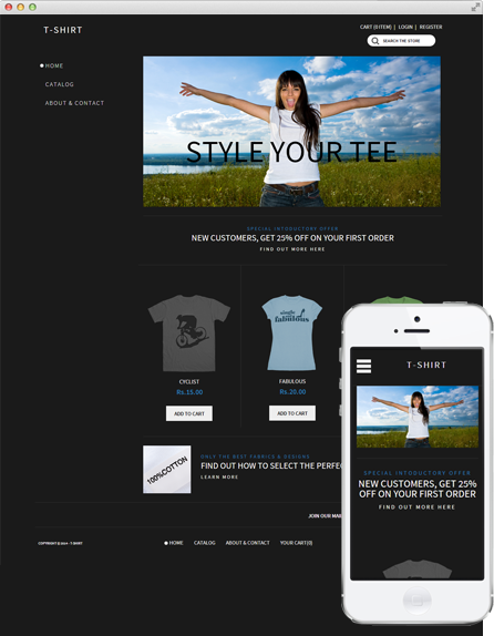 Theme 'T Shirt' on Desktop and Mobile Screens