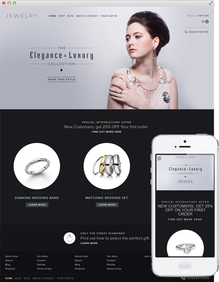 Theme 'Jewelry' on Desktop and Mobile Screens