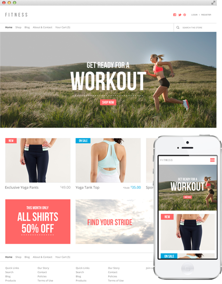 Theme 'Fitness' on Desktop and Mobile Screens