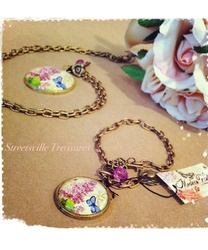 """Modern Vintage"" Butterfly/Lilac medallion necklace"