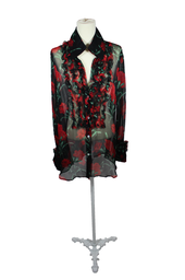 Sheer Black Dolce & Gabbana Blouse with Red Floral
