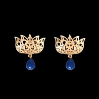 Eesha Zaveri - Filigree Lotus Earrings (Blue)