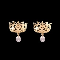 Eesha Zaveri - Filigree Lotus Earrings (Pink)