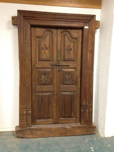Regular Price $3200 - Door-Clubs and Peacock Carving-Teak-591/2w by 8d by 85h