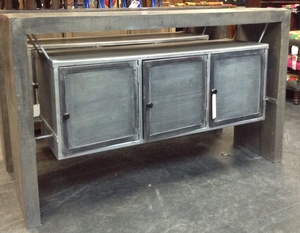Regular Price $2050 - Sideboard- Industrial Style- 63w by 16d by 34h
