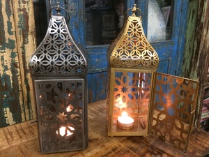 REGULAR PRICE $48.00 - Lantern- Tea Lite- Pewter or Gold-12h by 4w